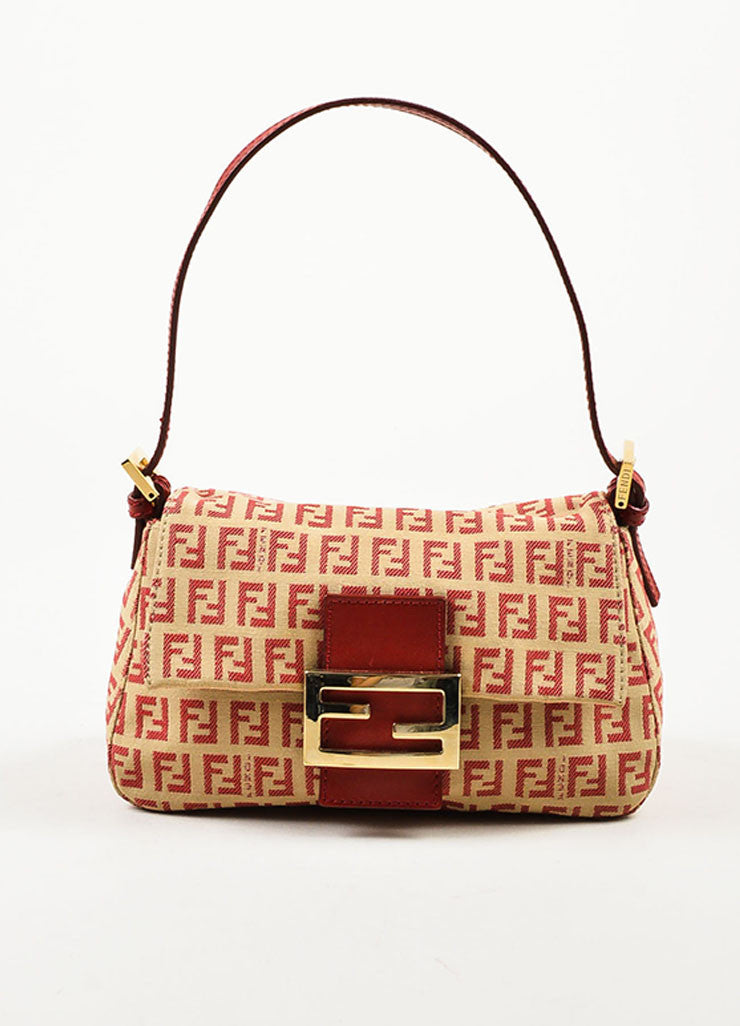 Fendi Red and Tan Monogram Canvas and Leather 'FF' Top Flap Small Shoulder Bag Frontview