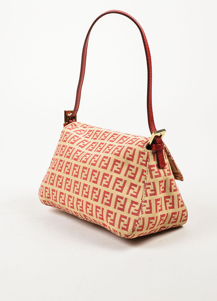 Fendi Red and Tan Monogram Canvas and Leather 'FF' Top Flap Small Shoulder Bag Sideview