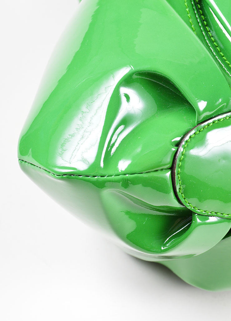 "Green Alexander McQueen Patent Leather Pleated ""Elvie"" Tote Bag Detail"