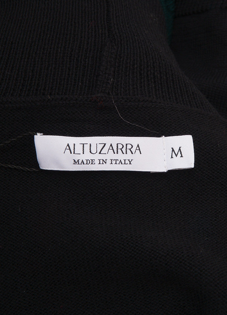 Altuzarra New With Tags Black, Pink, and Green Wool Sleeveless Turtleneck Top Brand