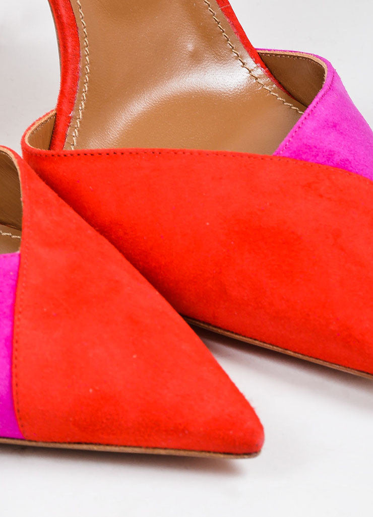 Red and Pink Aquazzura Suede Color Block Ankle Strap Pointed Pumps Detail