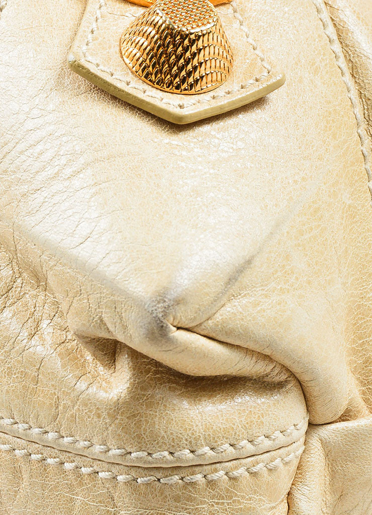 "Beige Gold Toned Stud Balenciaga ""Motocross Giant Brief"" Oversized Purse Bag Detail"