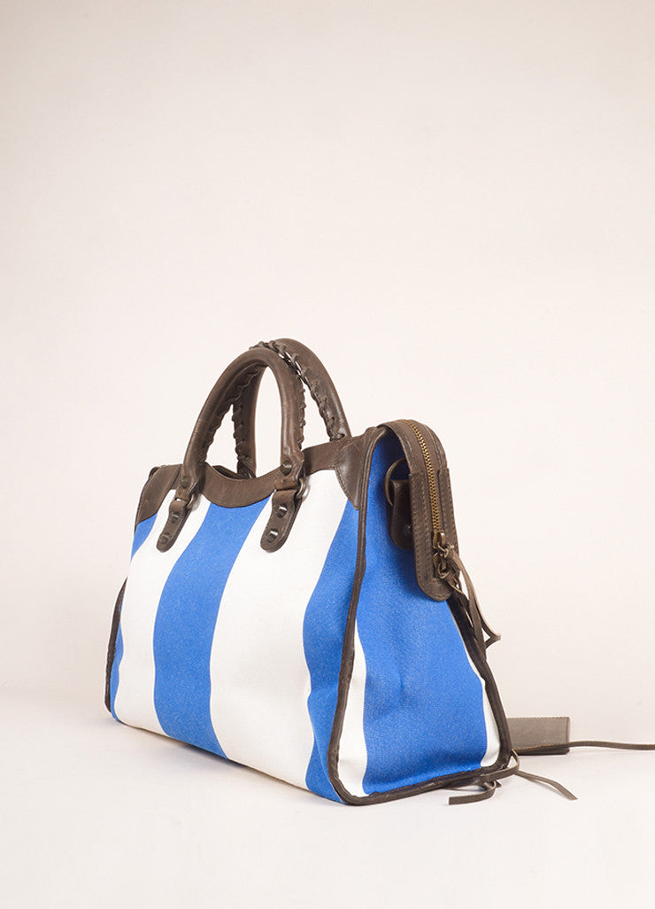 "Balenciaga Blue, White, and Brown Canvas and Leather Stripe ""City"" Bag Sideview"