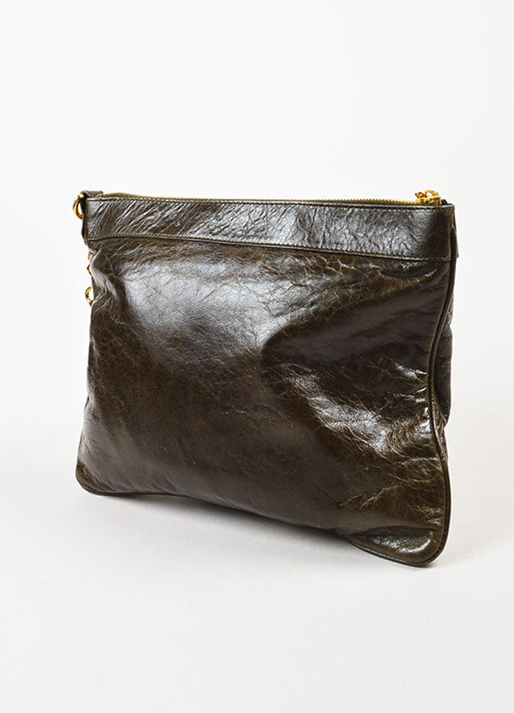 "Balenciaga Olive Green Leather Gold Toned Metal ""Giant 21 Wristlet Clutch"" Pouch Bag Sideview"