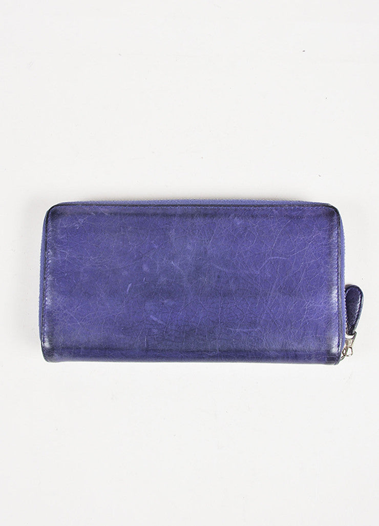 Balenciaga Purple Leather Silver Tone Hardware Continental Wallet Back
