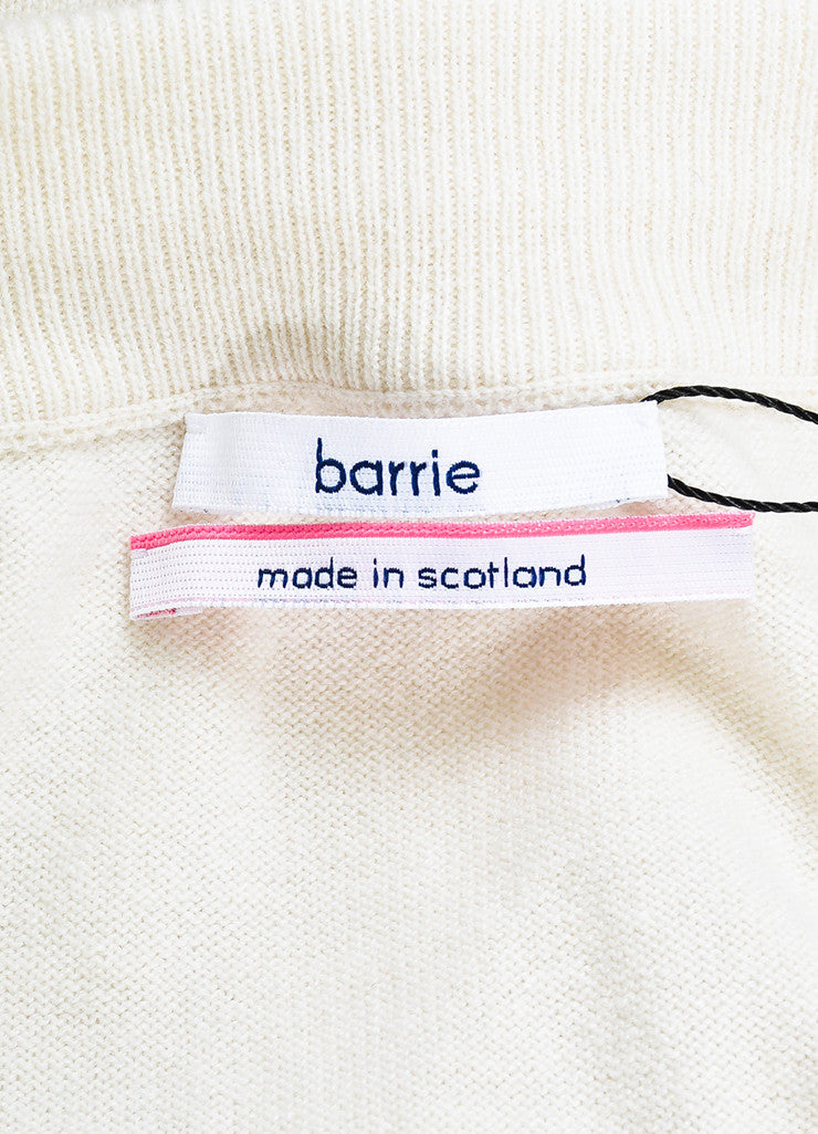 Barrie Cream and Navy Cashmere Embroidered Drop Crotch Joggers Brand