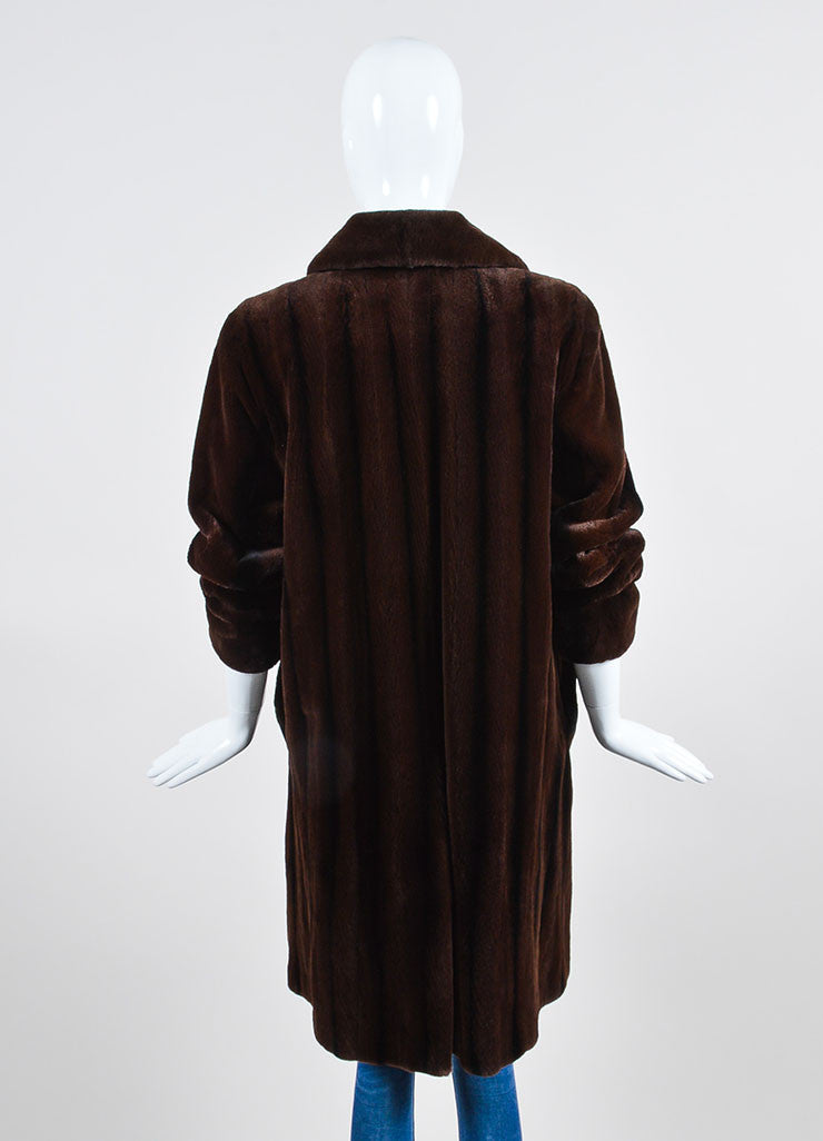 Brown and Black Bisang Fur Notch Lapel Coat Backview