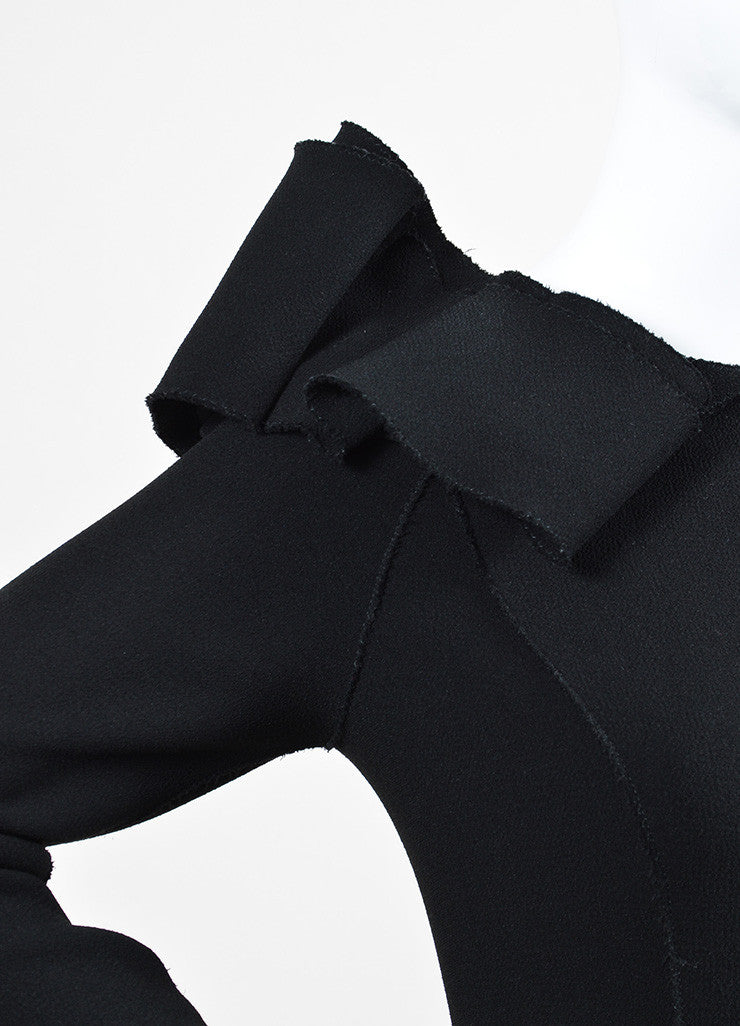Bottega Veneta Black Crepe Off Shoulder Ruffle Detail Long Sleeve Sheath Dress Detail