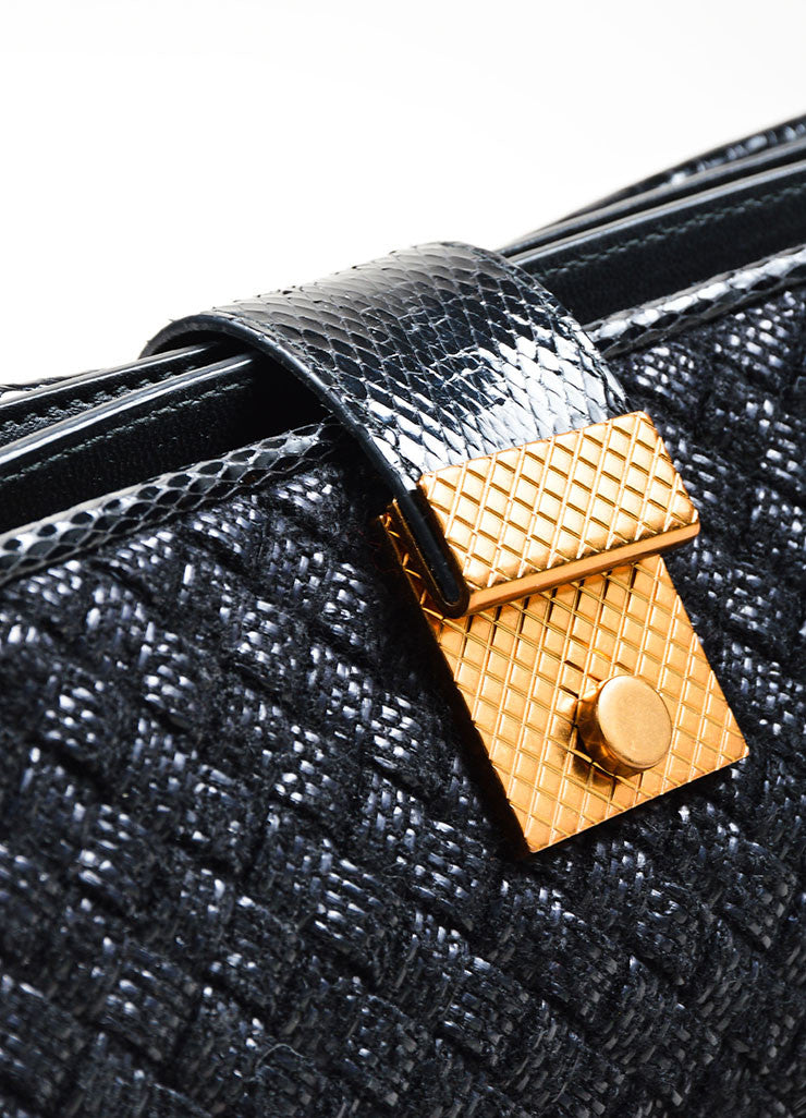 "Black Wool, Raffia, and Snakeskin Bottega Veneta Woven ""Ayers Livera"" Clutch Detail 2"