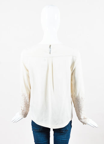 Brunello Cucinelli Beige Silk and Cashmere Crochet Trim Long Sleeve Blouse Backview