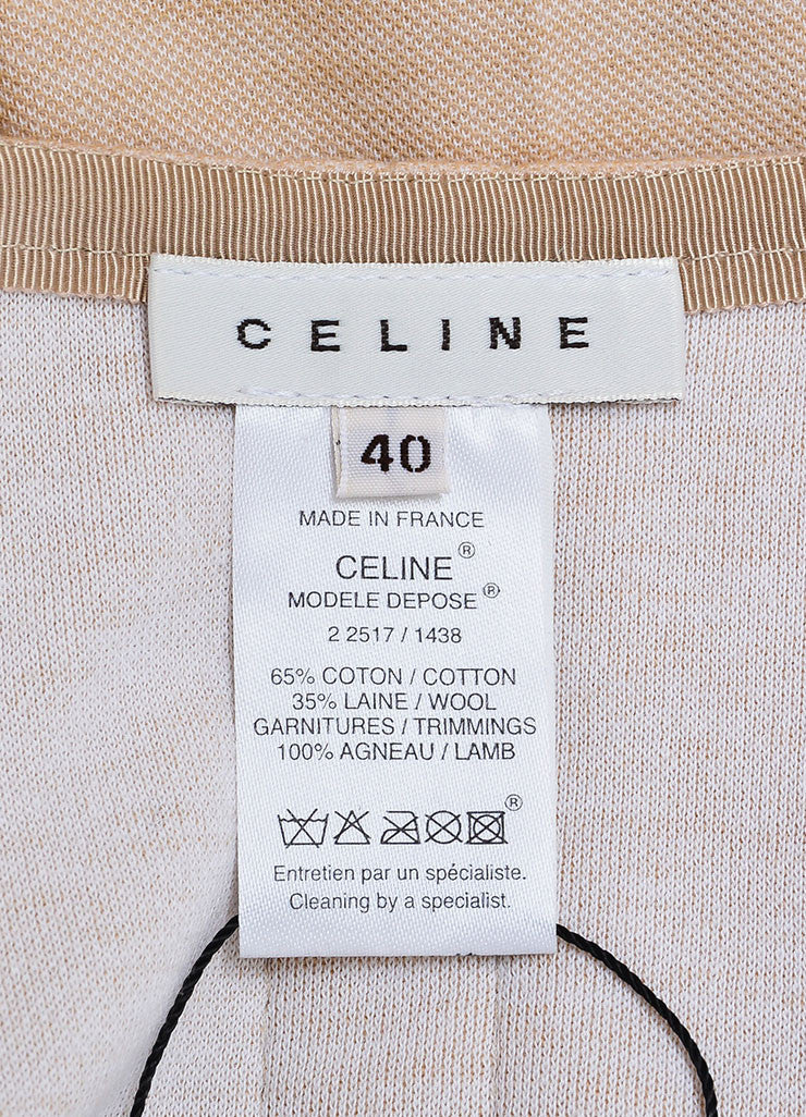 Celine Beige Khaki Tan Cotton Wool Knit Leather Accent Pleated Skirt Brand