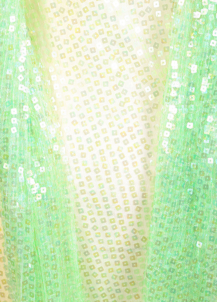 Chanel Green and Yellow Silk Sequin Embellished Shawl Detail Dress Detail