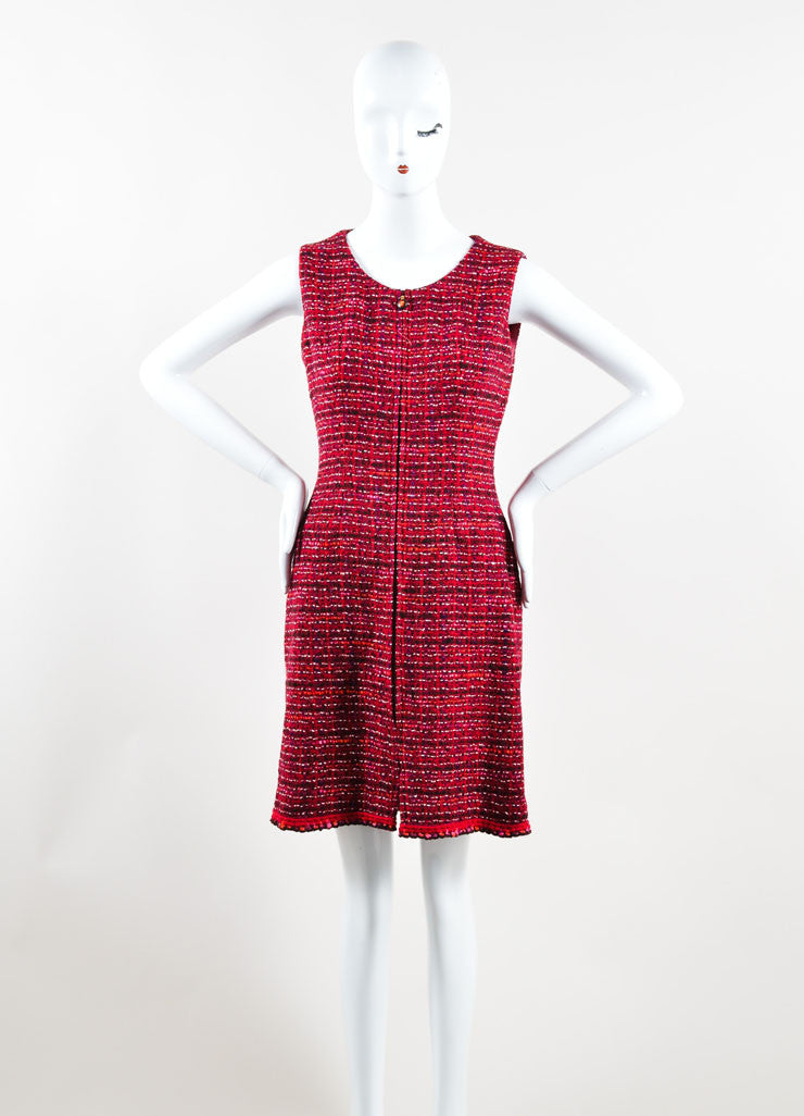 Chanel Red Tweed Knit Zip Front Sleeveless Shift Dress Front