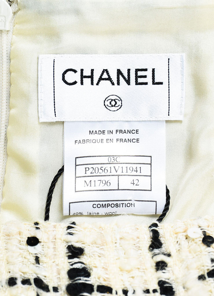 Chanel  Cream Black Check Tweed Textured Sequin A-Line Skirt Brand
