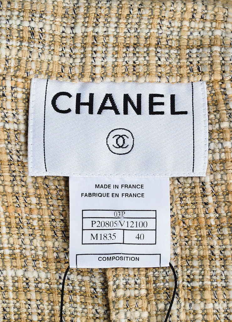 Beige and Cream Chanel Linen and Cotton Blend Tweed Jacket Brand