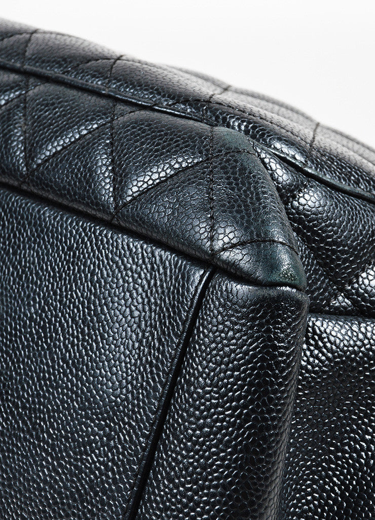 "Black Chanel Caviar Leather Quilted Chain Strap ""Grand Shopping"" Tote Detail 2"