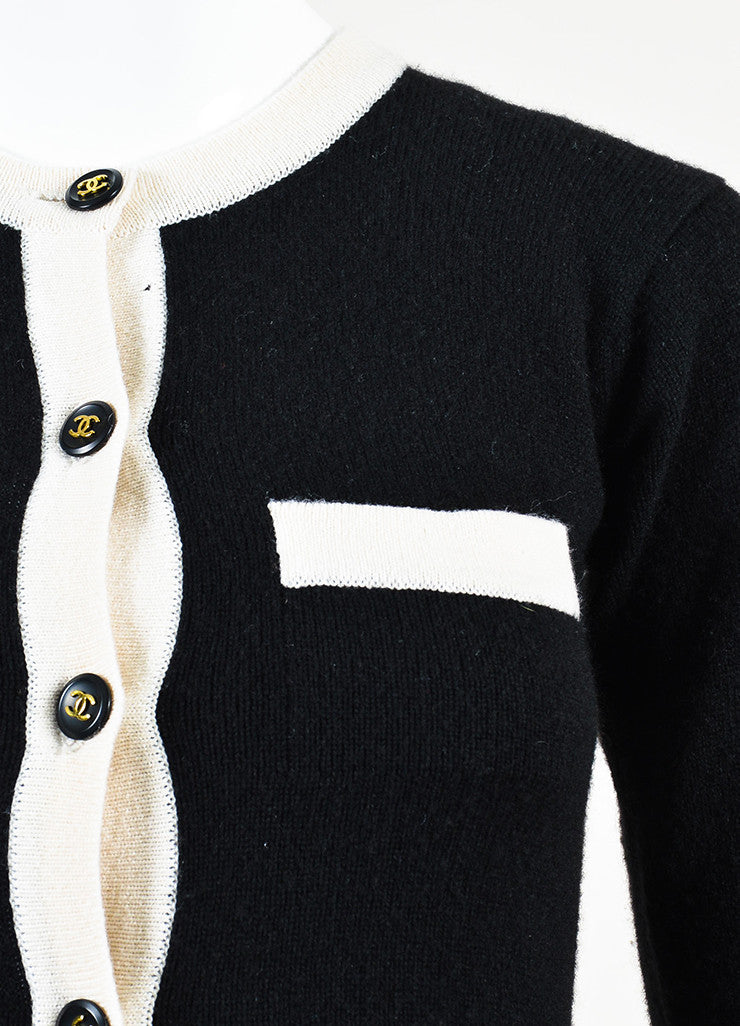 Chanel Black and Cream Cashmere 'CC' Button Cardigan Sweater Detail