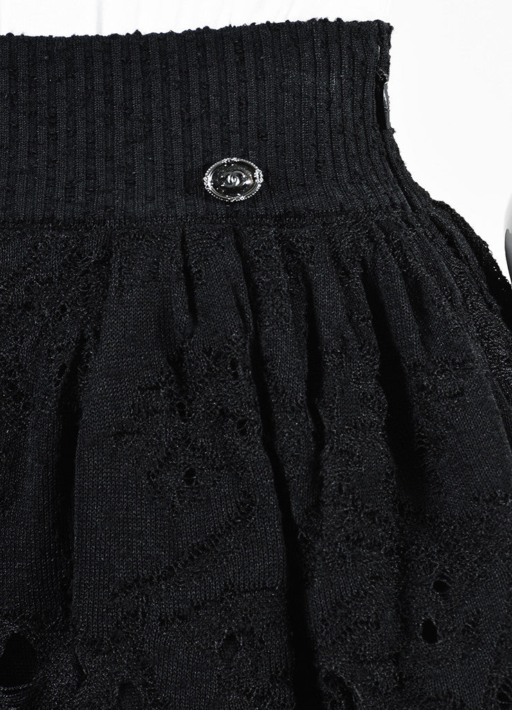 Chanel Black Lace Knit Pleated Flared Skirt Detail