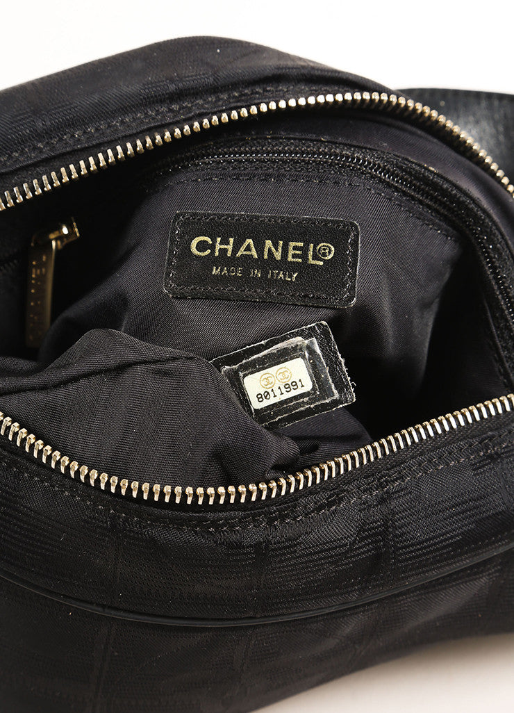 "Chanel Black Nylon Leather Strap Jacquard ""CC"" Logo Shoulder Bag Date Code"