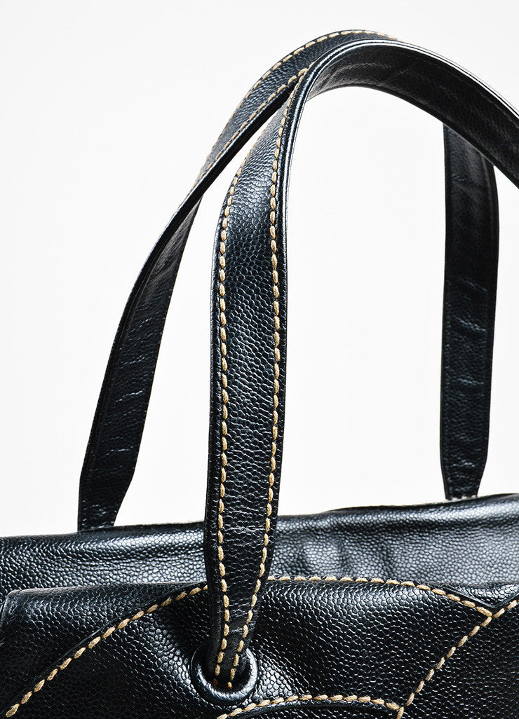 Chanel Black Tan Pebble Leather Stitch 'CC' Logo Flat Handle Tote Bag Detail 2