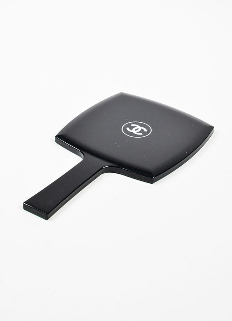 Black and White Chanel 'CC' Logo Hand Mirror Sideview
