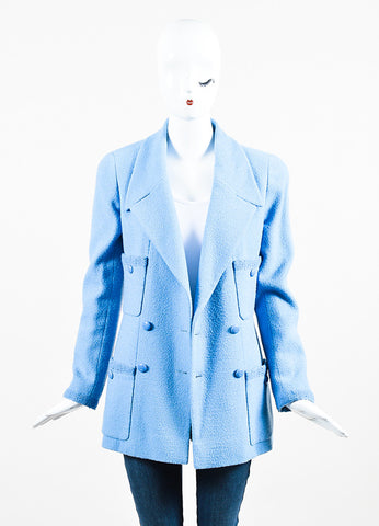 Chanel Baby Blue Wool Double Breasted Four Pocket Jacket Frontview