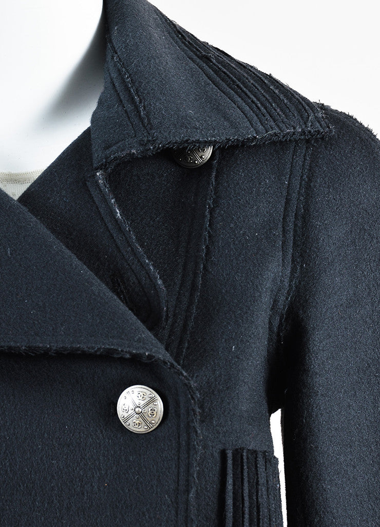 Chanel Dark Grey Wool Double Breasted Silver Toned Metal Button Moto Jacket Detail