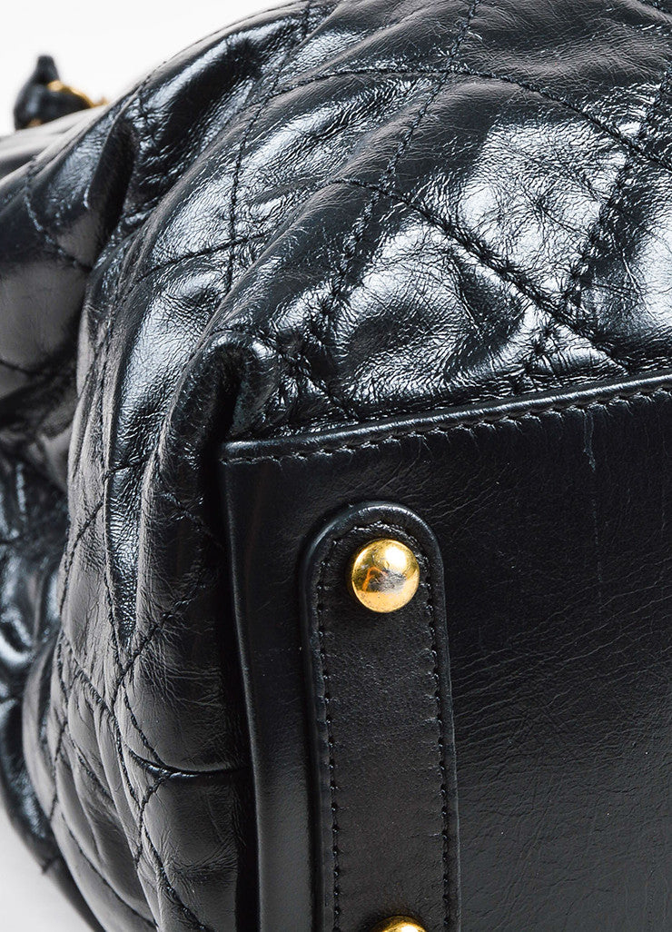 "Chanel Black Calfskin and Stingray Quilted ""Bindi"" Tote Bag Detail"