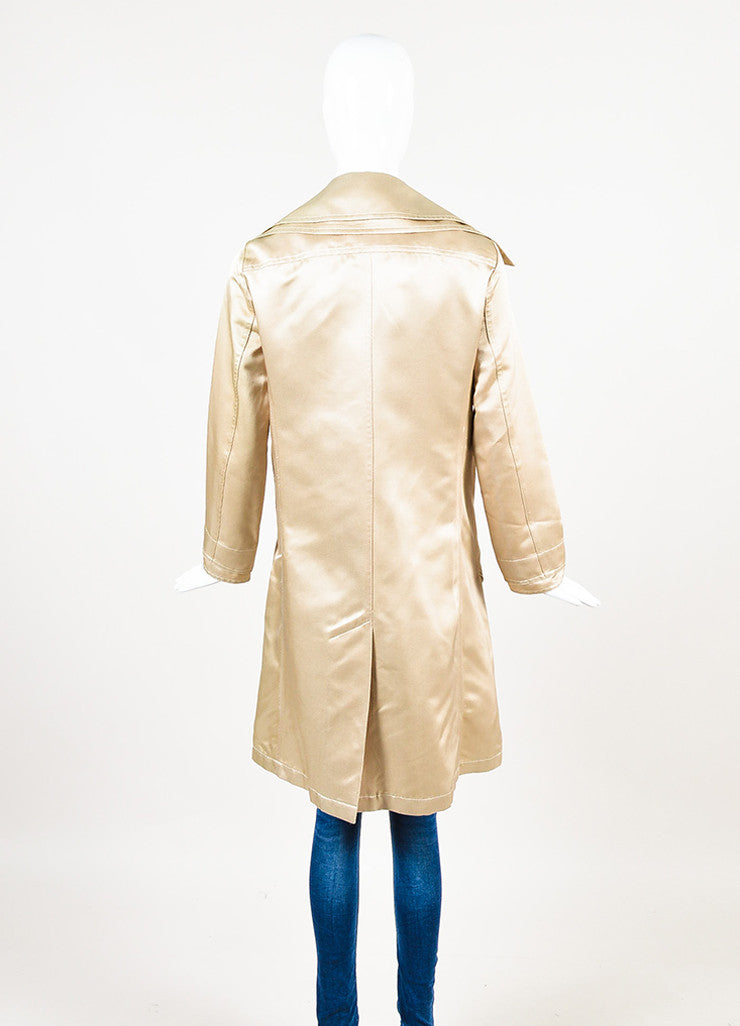 Chanel Golden Beige Gabardine Double Breasted 'CC' Button Trench Coat Backview