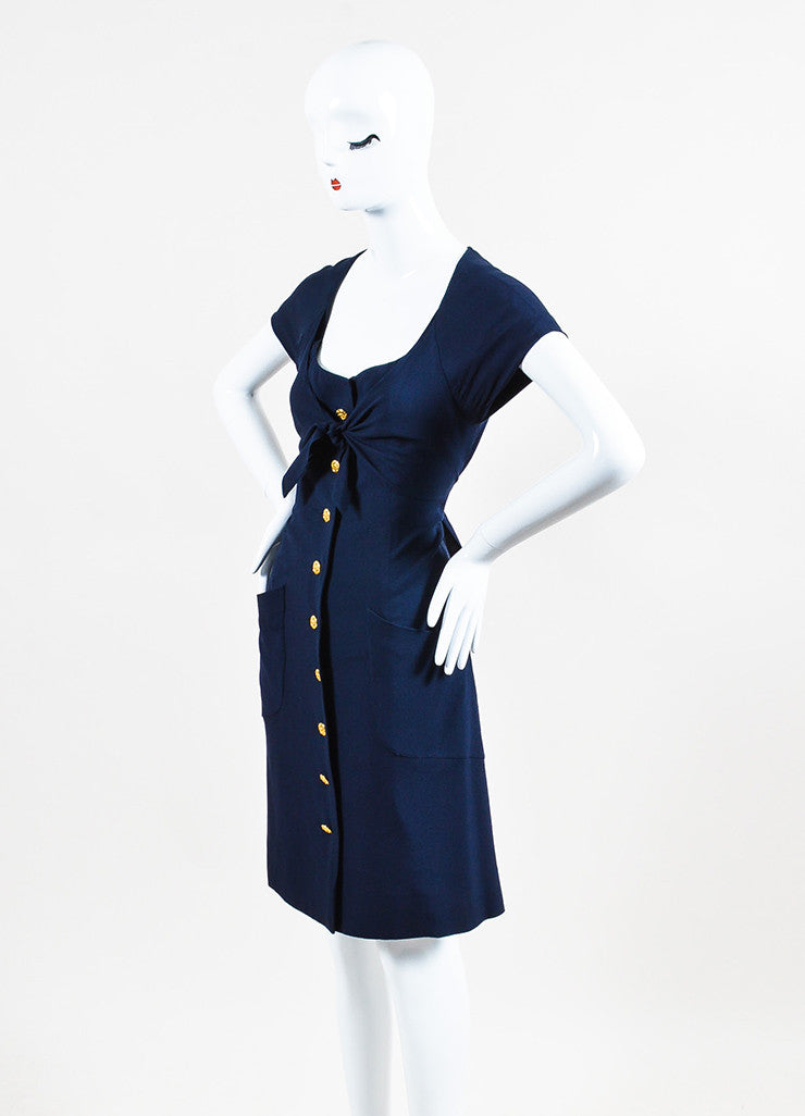 "Navy Blue Chanel Gold Tone ""CC"" Button Ruffle Trim Short Sleeve Dress Side"