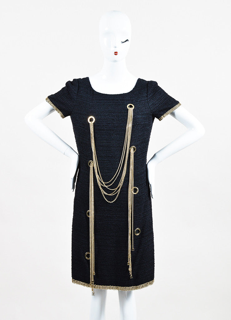 Chanel Navy Gold Toned Silk Tweed Chain Link Embellished Short Sleeve Shift Dress Frontview