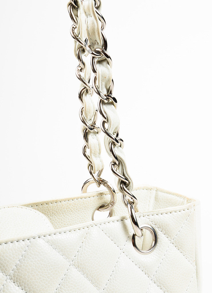 "Chanel White Leather Quilted Chain Strap ""Petite Shopper Tote"" Shoulder Bag Detail 2"