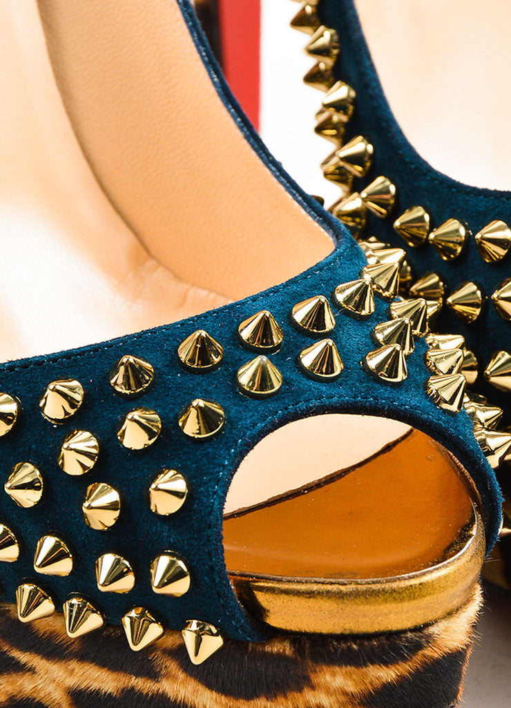 "Peacock and Tan Christian Louboutin ""Lady Peep Spikes 150"" Heels Detail"