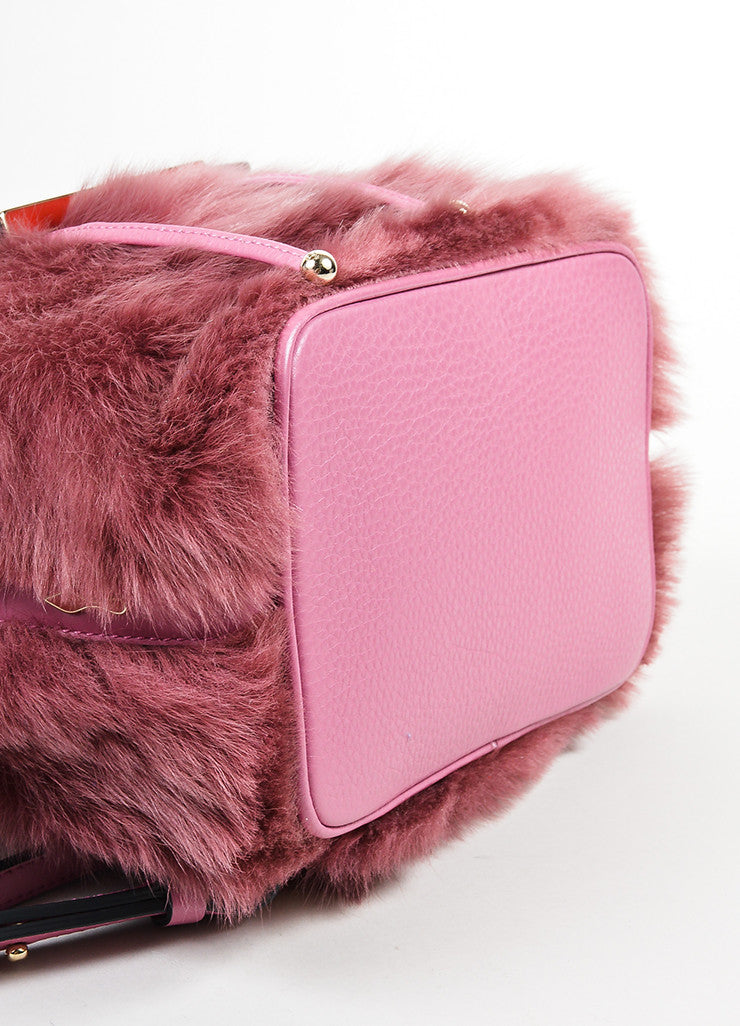 "Rose ‰ۢÌöÌÛChristian Louboutin Leather and Faux Fur ""Lucky L"" Bucket Backpack Bottom View"