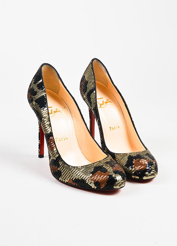 "Christian Louboutin Silver, Black, and Brown Sequin Leopard ""Fifi 100"" Pumps  Frontview"