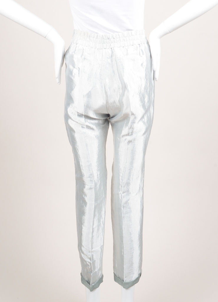 "Christian Wijnants New With Tags Silver Metallic Linen Blend ""Piet"" Pants Backview"