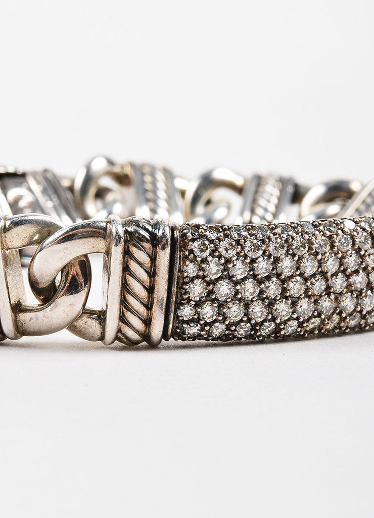 "David Yurman Sterling Silver and Pave Diamond ""Madison Cable"" ID Bracelet Detail"