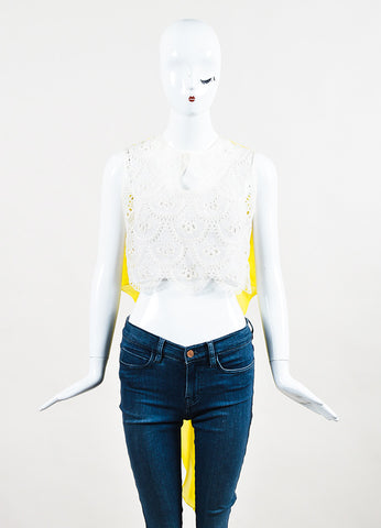 Delpozo Yellow and White Silk Chiffon Cotton Eyelet Sleeveless Crop Top Frontview