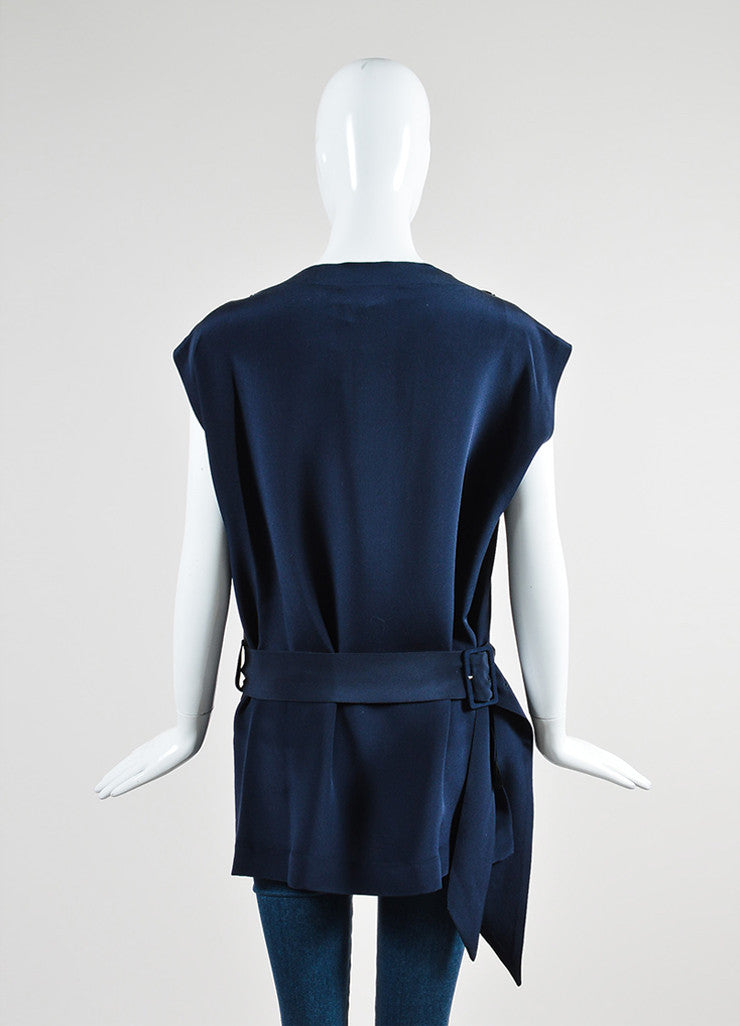 Navy Blue Derek Lam Silk Fringe Belted Button Shoulder Sleeveless Tunic Backview