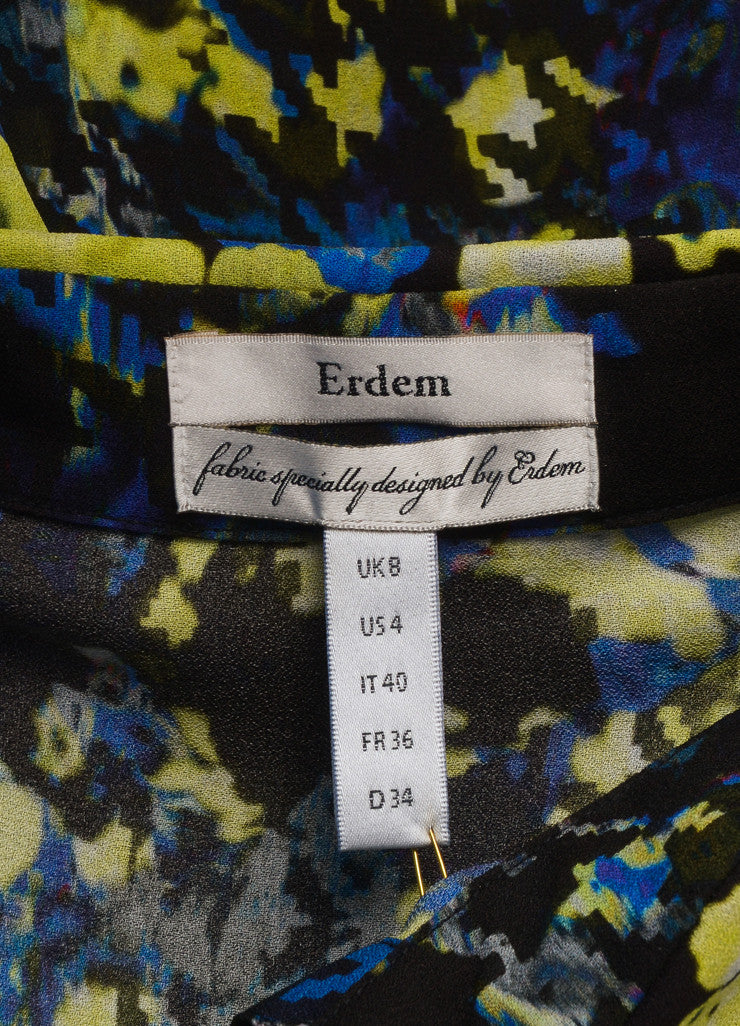 "Erdem New With Tags Multicolor Abstract Floral Print ""Celia"" Long Sleeve Silk Blouse Brand"