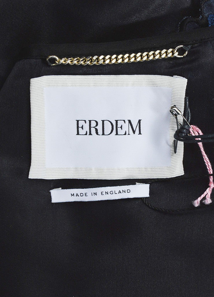 "Erdem Blue and Black Matelasse Embroidered Cropped ""Chessa"" Jacket Brand"