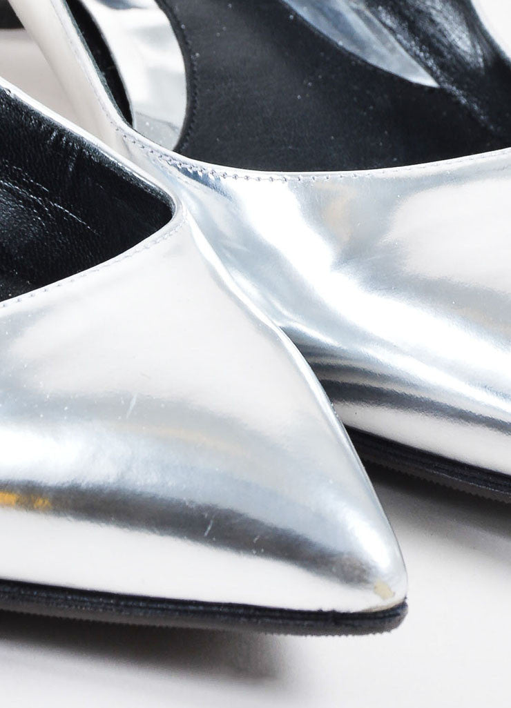 Silver Fendi Metallic Pointed Toe Block Heel Flats Detail