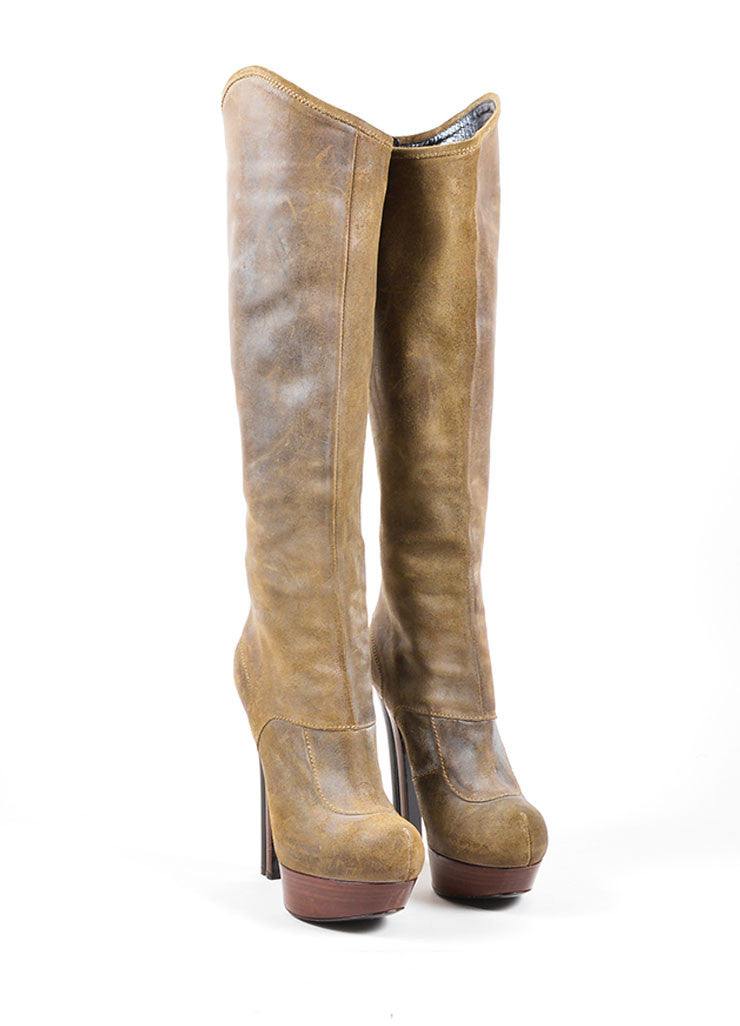 Grey Fendi Distressed Leather Wooden Platform Knee High Boots Frontview