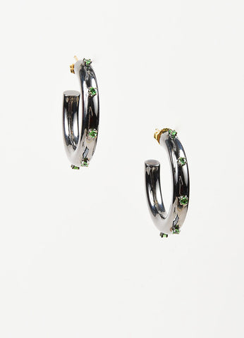 Fern Freeman 18K Gold, Rhodium Silver, and Tsavorite Garnet Hoop Earrings Frontview