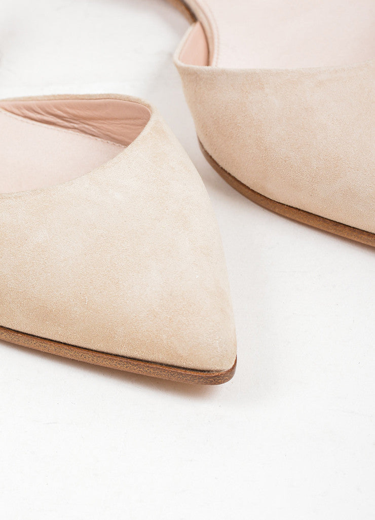 Nude Giambattista Valli Suede Pointed Slingback Flats Detail