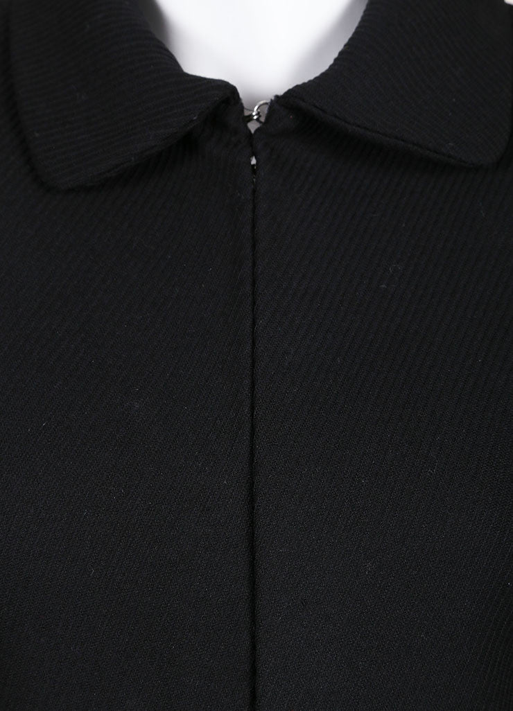 Gianni Versace Black Textured Hook and Eye Wool Blend Blazer Jacket Detail