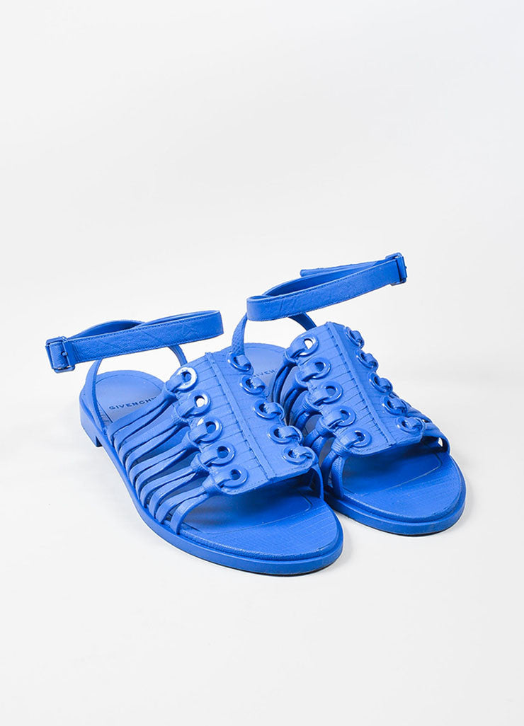 Blue Plastic Knot Molded Grommet Gladiator Ankle Wrap Sandals Frontview