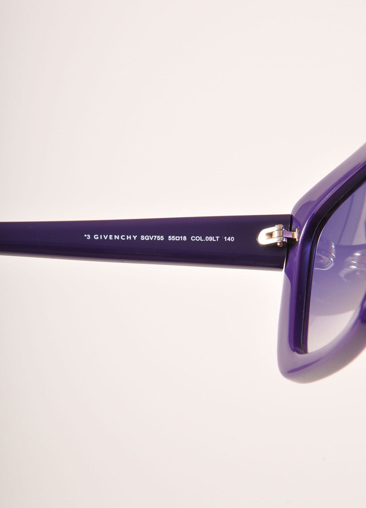 "Givenchy New With Tags Purple Plastic ""SGV 755"" Square Sunglasses Detail"