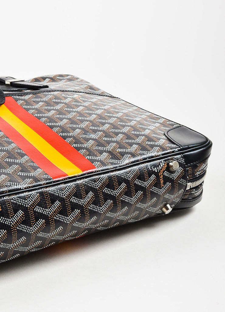 "Black Brown White Goyard Painted Monogram Canvas ""Ambassade"" Bag Detail"
