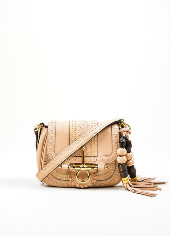 "Beige Leather Gucci Gold Toned Studded Tassel ""Snaffle Bit"" Cross Body Bag Frontview"